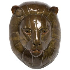 Sergio Bustamante Patinated Brass Lion Mask, 1960s