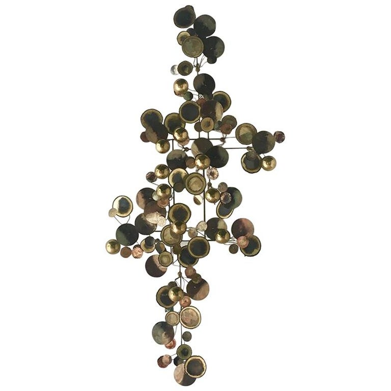 Brass Raindrops Metal Wall Sculpture by Curtis Jere, 1975