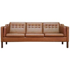 Danish Design Sofa Leather Vintage Midcentury