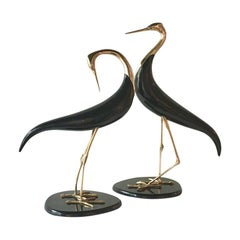 Pair of Brass and Ebonized Wood Bird Table Sculptures, 1970s