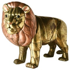 Large Brass and Copper Lion by Bustamante Signed and Editioned