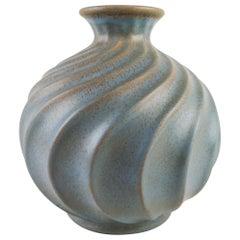 Ewald Dahlskog für Bo Fajans, Große Schwedische Keramikvase Turkos