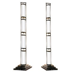 Pair of Chrome and Glass Deco Style Floor Lamps