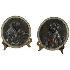 Fine Pair of Patinated Bronze Circular Plaques after Clodion, circa 1870