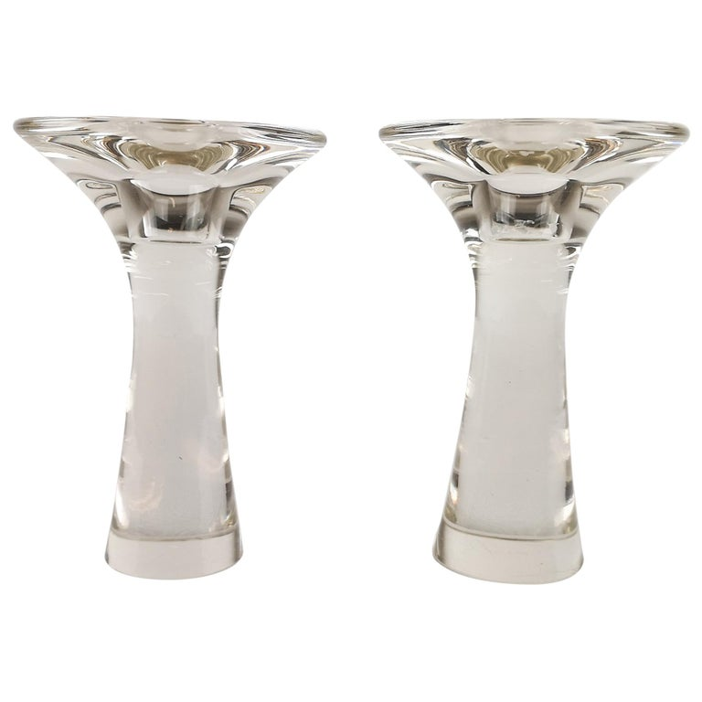 Set of Candlesticks Tapio Wirkkala Glass Iittala For Sale