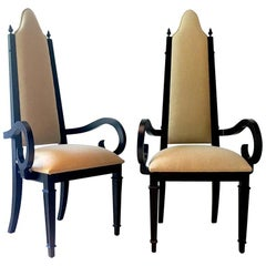 Pair of Theatrical High-Backed Ebonized Framed Armchairs, 1960s