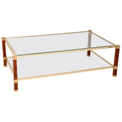 1970s Vintage French Walnut, Brass and Glass Coffee Table