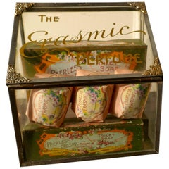 Old Perfume, Chemist Shop Display Cabinet, Erasmic Soaps and Boxes