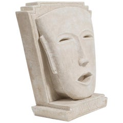 Oversized Aztex Inspired Plaster Face Sculpture