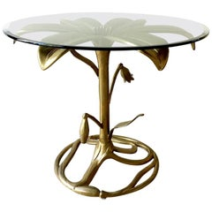 Arthur Court Gilded Centre Table with Glass Top, 1960s