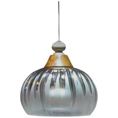 "Stylish Mid Century Pendant Light Fixture ""Melting Ice"" Frosted and Clear Lucite"