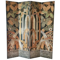 Black and Gilt Four Panel Screen by Decorative Crafts Inc