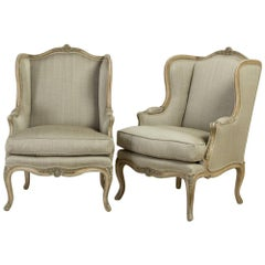 Pair of Late 19th Century French Cabriole Leg Wing Armchairs