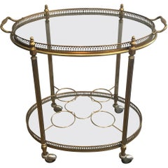 French Oval Brass Bar Cart with Removable Serving Tray