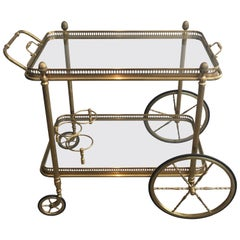 1940s Brass Bar Cart by Maison Bagués