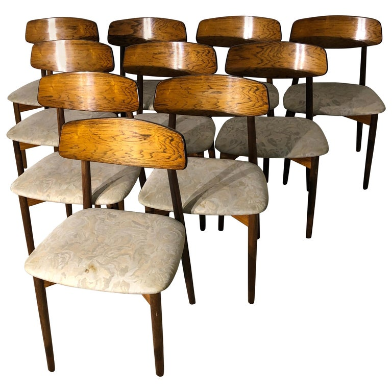 Set of 10 Rosewood Dining Chairs by Harry Østergaard, Danish, Mid-Century Modern