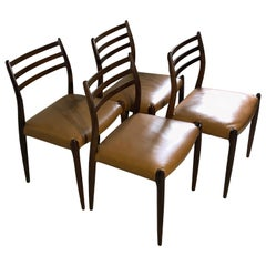 Niels O. Møller No. 78, Set of 4 Rosewood Chairs Danish Midcentury