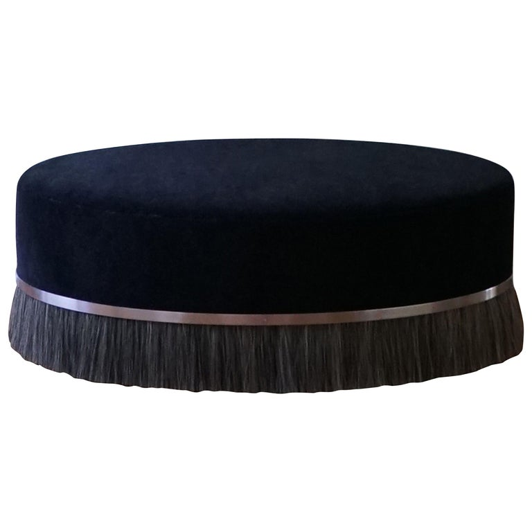 "Oval ""Thing Ottoman"" with Brass and Horse Hair"
