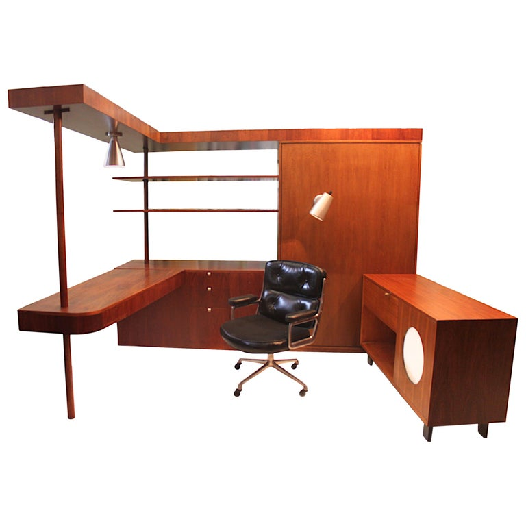 Vintage 1949 Mid Century Modern Custom L Shaped Office Desk By George Nelson For