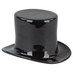Black Ceramic Top Hat, France, 1950s