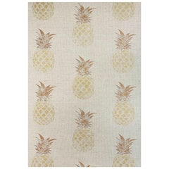 'Pineapple' Contemporary, Traditional Fabric in Gold on Natural