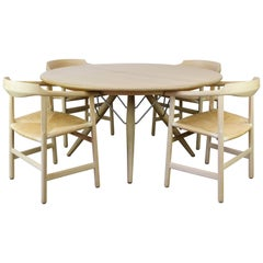 Danish Dining Set by Hans J Wegner for PP Mobler Model PP75 and PP205 Oak 1980s