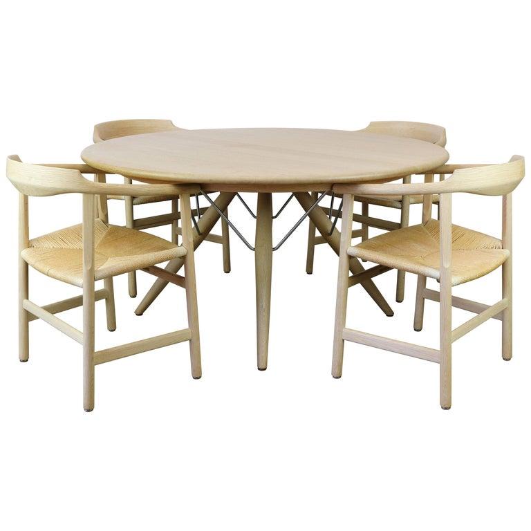 Danish Dining Set by Hans J Wegner for PP Mobler Model PP75 and PP205 Oak 1980s For Sale
