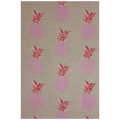 'Pineapple' Contemporary, Traditional Fabric in Pink or Red on Natural