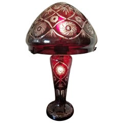Bohemian Ruby Red Cut to Clear Crystal Table Lamp