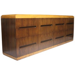 Vintage 1970s Mid-Century Modern Rosewood and Oak Credenza Buffet by Dunbar