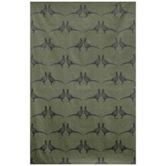 'Pheasant' Contemporary, Traditional Fabric in Camo Green