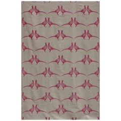 'Pheasant' Contemporary, Traditional Fabric in Pink on Natural