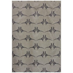 'Pheasant' Contemporary, Traditional Fabric in Charcoal on Natural