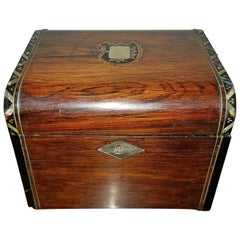 Early 19th Century Irish Mahogany Single Tea Caddy with Armorial Crest