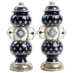 Ceramic and White Metal 'Alpaca' Pair of Pharmacy Jars