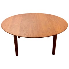 Danish Modern Solid Teak Round Coffee Table with Beveled Edge