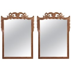 Compatible Hollywood Regency Grosfed House Ribbon and Tassle Form Mirrors, Pair