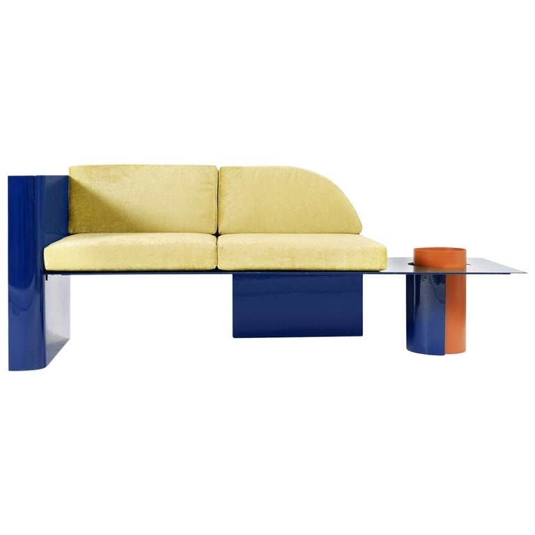 Blue Modern Sofa in Powder-Coated Steel with Planter Side Table For Sale