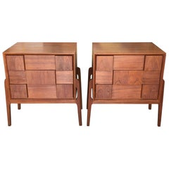Pair of Danish Nightstands with Checkerboard Drop Fronts