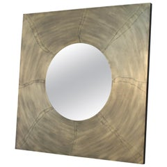 Artex Acid Ecthed Patinated Brass Mirror by Felix De Boussy for Studio Belgali