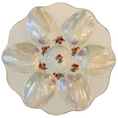 Antique German Porcelain Oyster Plate, circa 1920-1930