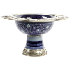 Ceramic and White Metal 'Alpaca' Bowl Centrepiece