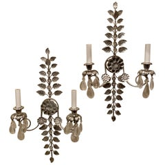 Mid-Century Modern Baguès French Rock Crystal Silver Leaf Beaded Crystal Sconces
