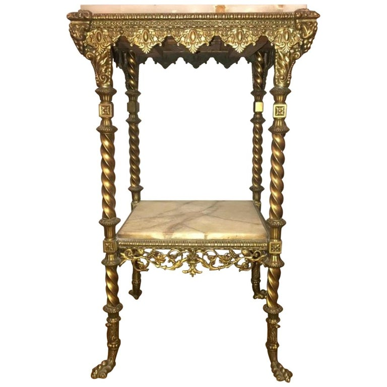 French Two-Tier Bronze and Alabaster Pedestal or End Table