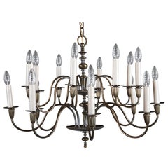 Vintage Large Brass Sixteen-Arms Chandelier