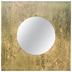 Caridean Acid Etched Patinated Brass Mirror by Felix for Studio Belgali
