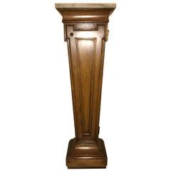 Hollywood Regency Style Open Door Storage Marble Top Pedestal