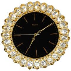 1980s Brass Crystal Glass Wall Clock Hollywood Regency Weinfurtner Glaskunst
