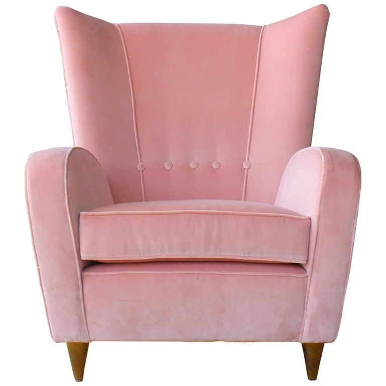 1950s Italian Armchair in Pink Velvet