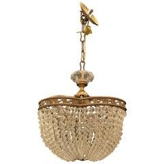 Wonderful French Bronze Crystal Beaded Clover Ormolu Basket Chandelier Fixture